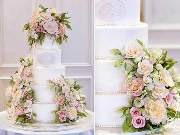 bánh cưới hoa tươi